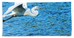 Great Egret Building Nest  Beach Towel