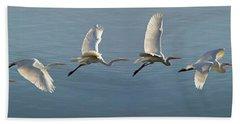 Great Egret Flight Sequence Beach Towel