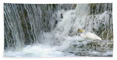 Great Egret Hunting At Waterfall - Digitalart Painting 3 Beach Towel