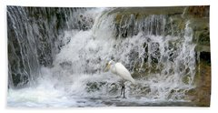 Great Egret Hunting At Waterfall - Digitalart Painting 4 Beach Towel