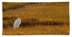 Great Egret In Morning Light Beach Towel