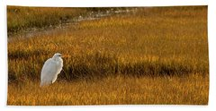 Great Egret In Morning Light Beach Sheet