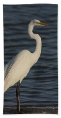 Great Egret In The Last Light Of The Day Beach Sheet