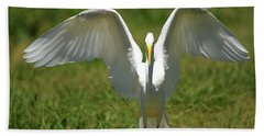 Great Egret In Unusual Portrait Beach Towel