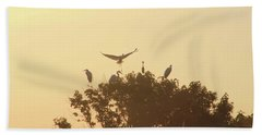 Great Egret Joining Friends Beach Towel