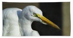Great Egret Portrait Beach Towel