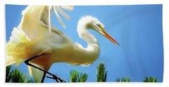 Great Egret Preparing For Treetop Landing 3 - Digitalart Beach Sheet