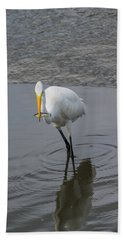 Great Egret Strike Beach Towel