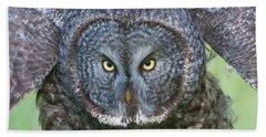 Great Gray Owl Flight Portrait Beach Sheet
