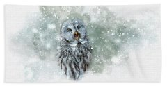 Great Grey Owl In Snowstorm Beach Towel