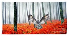 Great Grey Owl Beach Towels