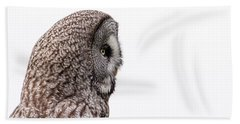 Great Grey's Profile On White Beach Towel