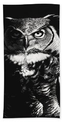Great Horned Dragon Owl Beach Towel