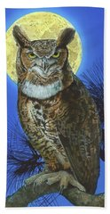 Great Horned Owl 2 Beach Sheet