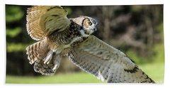 Great Horned Owl-2347 Beach Towel