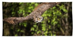 Great Horned Owl-2419 Beach Towel