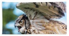 Great Horned Owl-2486 Beach Towel