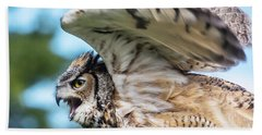 Great Horned Owl-2486 Beach Towel