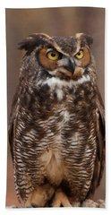 Great Horned Owl Digital Oil Beach Towel by Chris Flees