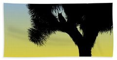 Great Horned Owl In A Joshua Tree Silhouette At Sunrise Beach Towel