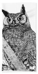Great Horned Owl In A Tamarisk Beach Towel