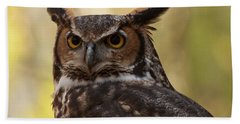 Beach Towel featuring the photograph Great Horned Owl In A Tree 1 by Chris Flees
