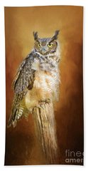 Great Horned Owl In Autumn Beach Towel