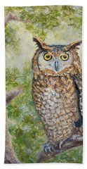 Beach Towel featuring the painting Great Horned Owl by Joe Bergholm