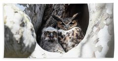Great Horned Owl Nest Beach Towel by Gary Wightman