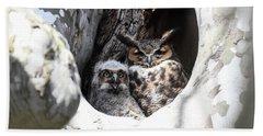 Great Horned Owl Nest Beach Towel