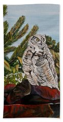 Beach Sheet featuring the painting Great Horned Owl - Owl On The Rocks by Marilyn  McNish