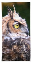 Beach Towel featuring the photograph Great Horned Owl Portrait by William Selander