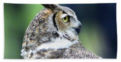 Great Horned Owl Profile Beach Towel