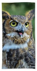 Great Horned Owl Smiling Beach Towel