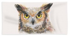 Great Horned Owl Watercolor Beach Towel by Olga Shvartsur
