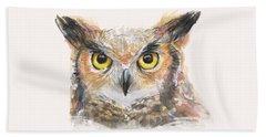Great Horned Owl Watercolor Beach Sheet by Olga Shvartsur