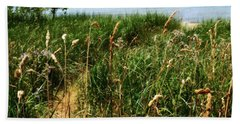 Beach Towel featuring the photograph Great Lake Beach Path by Michelle Calkins