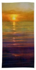 Beach Towel featuring the digital art Great Lakes Setting Sun by Michelle Calkins