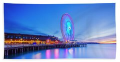 Seattle Great Wheel Beach Towel