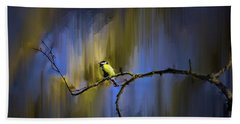 Great Tit On Branch #h3 Beach Sheet