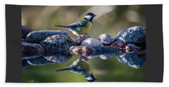 Great Tit On The Stone Beach Towel