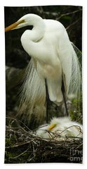 Majestic Great White Egret High Island Texas 3 Beach Towel by Bob Christopher