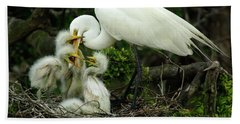 Majestic Great White Egret High Island Texas 9 Beach Towel by Bob Christopher