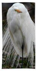 Great White Egret Windblown Beach Towel by Sabrina L Ryan