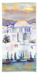 Greece- The White Houses Of Mykonos Beach Towel