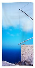 Greek Windmill Beach Towel