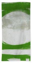 Green Abstract Circle 2 Vertical- Art By Linda Woods Beach Towel