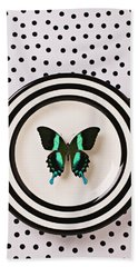 Green And Black Butterfly On Plate Beach Towel
