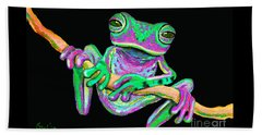 Green And Pink Frog Beach Towel by Nick Gustafson