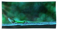 Green Anole Lizard Beach Towel
